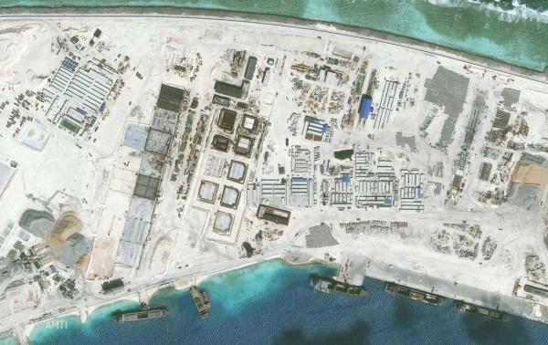 Một phần đá Vành Khăn, nơi Trung Quốc xây trái phép thành đảo nhân tạo, tại quần đảo Trường Sa của Việt Nam. Ảnh: