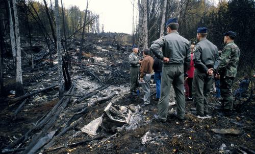 Hiện trường vụ tai nạn của chiếc E-3. Ảnh: USAF.