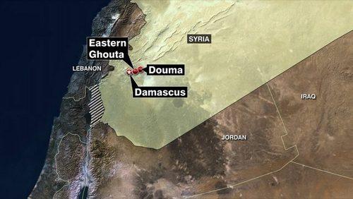 Thành phố Douma nằm gần thủ đô Damascus. Đồ họa: AMN.