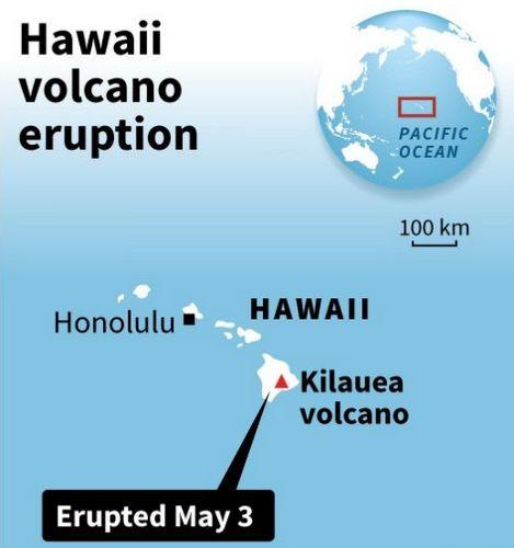 Vị trí núi lửa Kilauea. Đồ họa: AFP.