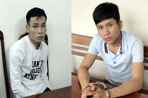 Tuấn và Linh bị bắt giữ. Ảnh: Phước Hiệp.