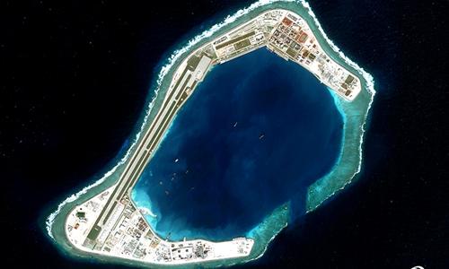 Đá Subi, nơi Trung Quốc bồi đắp trái phép thành đảo nhân tạo và được cho là triển khai tên lửa.