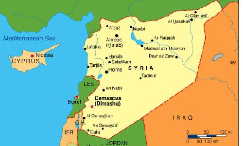 Nhóm tác chiến tàu sân bay Harry Truman được triển khai đến đông Địa Trung Hải, ngay sát Syria. Đồ họa: Map.com.