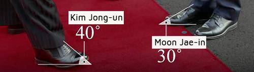 Cận cảnh sự khác biệt trong hai đôi giày của lãnh đạo Hàn - Triều. Ảnh: Chosun Ilbo
