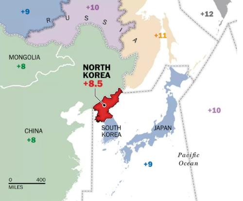 Múi giờ của Triều Tiên năm 2015. Đồ họa: Washington Post.