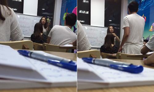 Ảnh cắt từ video gần ba phút cãi nhau giữa cô giáo và học viên.