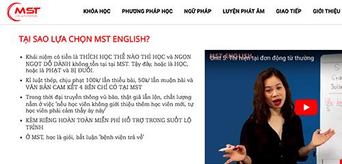 Trung tâm MST English nơi có giáo viên mạt sát học viên hoạt động không giấy phép. Ảnh chụp màn hình.