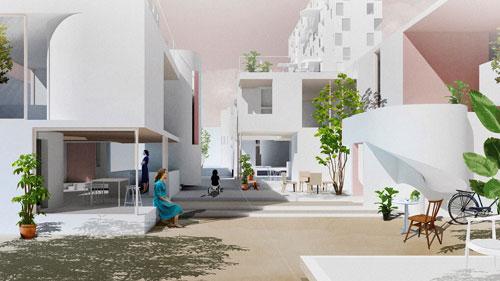 Tác phẩm Co-Living của nhóm tác giả Việt, là thiết kế hệ thống nhà kiểu mới, khuyến khích cư dân sống với nhau một cách hòa hợp.
