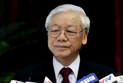 Tổng bí thư Nguyễn Phú Trọng phát biểu khai mạc Hội nghị trung ương 7 sáng 7/5. Ảnh: VGP
