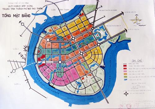 Bản đồ quy hoạch tổng mặt bằng khu đô thị Thủ Thiêm lập năm 1995 được ông Võ Viết Thanh lưu giữ. Đây cũng là một trong 13 bản đồ được TP HCM trình Thủ tướng. Ảnh: Hữu Nguyên