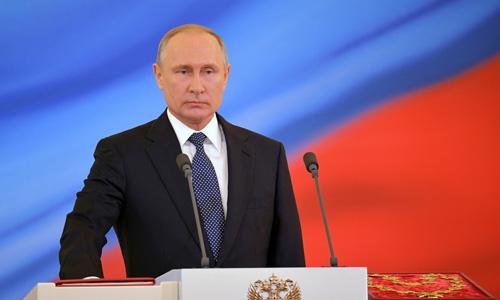 Tổng thống Vladimir Putin tại lễ nhậm chức ngày 7/5 ở Điện Kremlin, Moskva, Nga. Ảnh: Reuters.