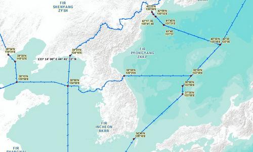 FIR Bình Nhưỡng (ZKKP) và FIR Incheon (RKRR). Đồ họa: ICAO.