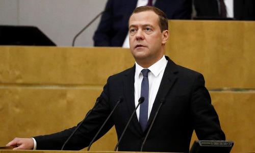 Thủ tướng Nga Dmitry Medvedev phát biểu trước hạ viện hôm 8/5. Ảnh: Reuters.