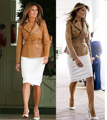Bà Melania diện áo da dù thời tiết khá nóng. Ảnh: AP