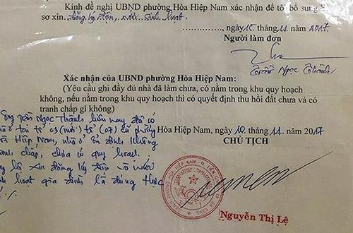 Chữ ký của chủ tịch phường Hòa Hiệp Nam bị ông Nguyên làm giả. Ảnh: N.T.