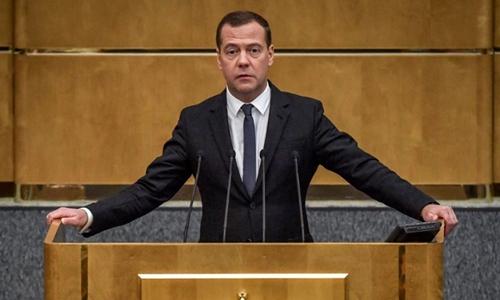 Thủ tướng NgaDmitry Medvedev phát biểu tại hạ viện Nga ngày 8/5. Ảnh: AFP.