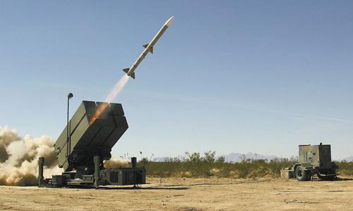 Tổ hợp NASAMS khai hỏa. Ảnh: Raytheon.