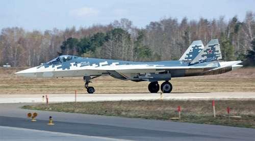 Tiêm kích Su-57 với hệ thống càng đáp rất bền. Ảnh: Bộ Quốc phòng Nga.