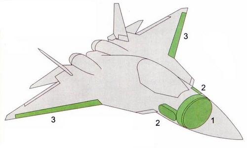 Cách bố trí hệ thống radar N036 Byelka trên tiêm kích Su-57. Đồ họa: Indian Defence.