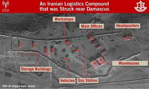 Một cơ sở phức hợp hậu cần của Iran tại Syria bị Israel tấn công. Ảnh: IDF.