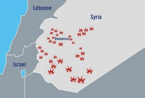 Các mục tiêu của Israel trong đợt không kích rạng sáng 10/5. Đồ họa: IDF.