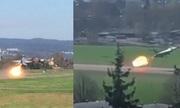Tiêm kích F-16 Na Uy phụt lửa vì chim lọt vào động cơ