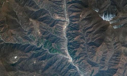 Bãi thử hạt nhânPunggye-ri trong ảnh chụp từ vệ tinh. Ảnh:DigitalGlobe.