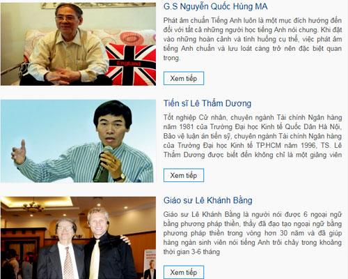Có 3 người Việt được Langmaster giới thiệulà chuyên gia cố vấn. Một trong số đó đã qua đời, một khẳng định không hợp tác và 4-5 năm nay không có liên hệ gì với trung tâm này. Ảnh chụp màn hình.