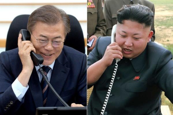 Tổng thống Hàn Quốc Moon Jae-in và lãnh đạo Triều Tiên Kim Jong-un. Ảnh: Yonhap.