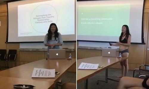 Letitia Chai mặc mỗi đồ lót trong khi thuyết trình.