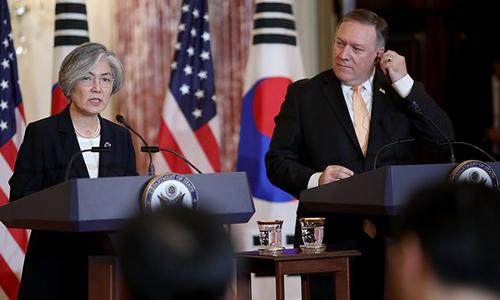 Bộ trưởng Ngoại giao Hàn Quốc (trái) và Ngoại trưởng Mỹ trong họp báo hôm 11/5. Ảnh: RTE.