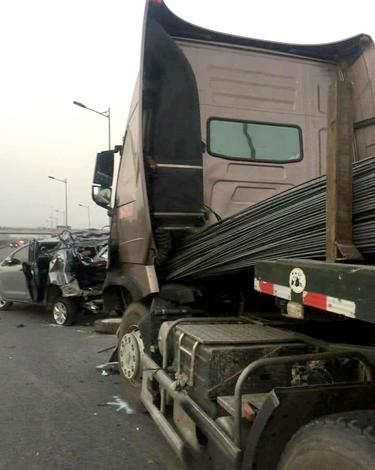 Hiện trường vụ tai nạn hồi tháng 11/2016 trên cao tốc Hà Nội - Thái Nguyên.