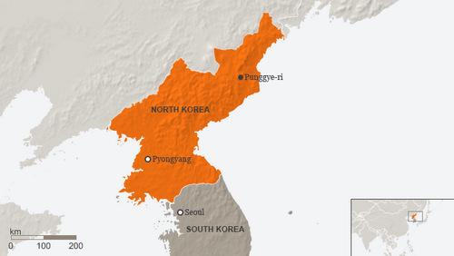 Vị trí bãi thử hạt nhân Punggye-ri. Đồ họa: DW.