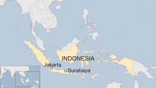 Vị trí thành phố Surabaya, Indonesia. Đồ họa: BBC.