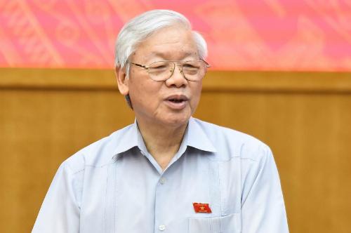 Tổng bí thư Nguyễn Phú Trọng trong cuộc tiếp xúc cử tri ngày 13/5. Ảnh: Giang Huy.