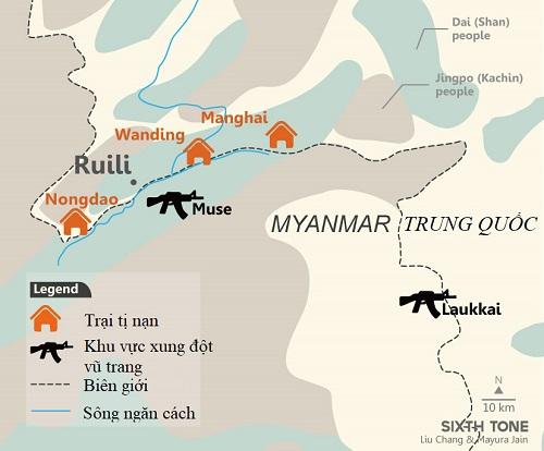 Khu vực xung đột và trại tị nạn ở biên giới Trung Quốc - Myanmar. Đồ họa: Sixth Tone.