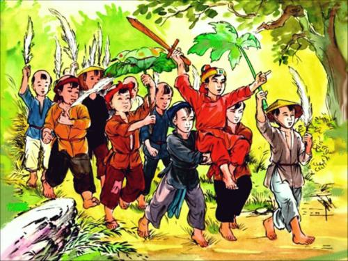 Tranh minh họa Đinh Bộ Lĩnh hồi còn nhỏ. Ảnh: Youtube