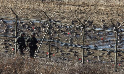 Lính Hàn Quốc tuần tra hàng rào dây thép gai gần Khu Phi quân sự tháng 3/2013. Ảnh: AFP.
