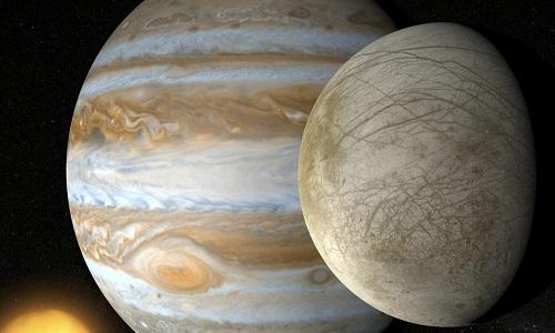 Đại dương ẩn dưới mặt trăng Europa có thể chứa sự sống. Ảnh: NASA.