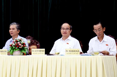 Đoàn đại biểu Quốc Hội TP HCM tiếp xúc cử tri huyện Bình Chánh sáng 14/5. Ảnh: Thiên Ngôn