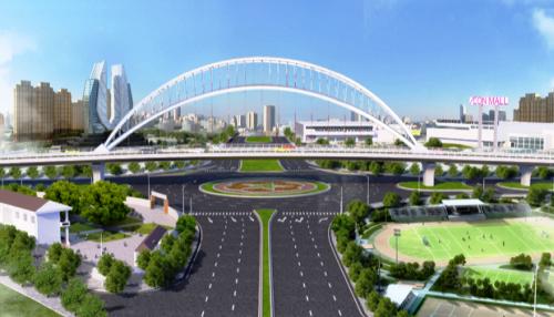 Cầu vượt Nguyễn Văn Linh trị giá 360 tỷ đồng thuộc dự án xây dựng trục đường Hồ Sen- Cầu Rào 2 có tổng mức đầu tư 1404 tỷ đồng.