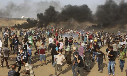 Người Palestine trong cuộc biểu tình hôm 11/5. Ảnh: AP.