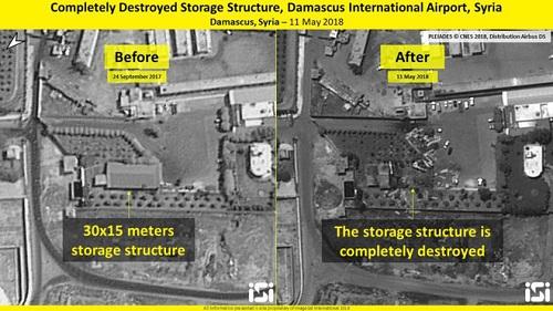Ảnh chụp nhà kho sân bay vào ngày 24/9/2017 và ngày 11/5/2018. Ảnh: Times of Israel.