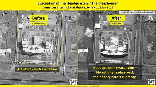 Ảnh chụp tòa nhà trung tâm điều hành sân bay vào ngày 24/9/2017 và ngày 11/05/2018. Ảnh: Times of Israel.