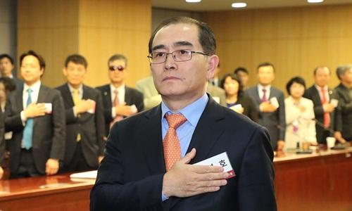 Ông Thae Yong-ho, cựu đại sứ Triều Tiên tại Anh tham dự một diễn đàn tại quốc hội Hàn Quốc hôm 14/5. Ảnh: Yonhap.
