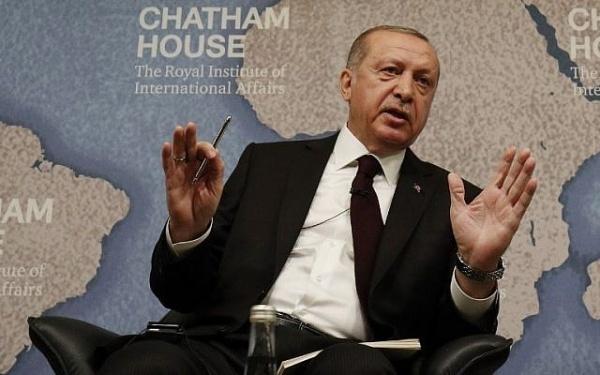 Tổng thống Thổ Nhĩ Kỳ Recep Tayyip Erdogan hôm qua phát biểu tại Anh. Ảnh: Reuters.