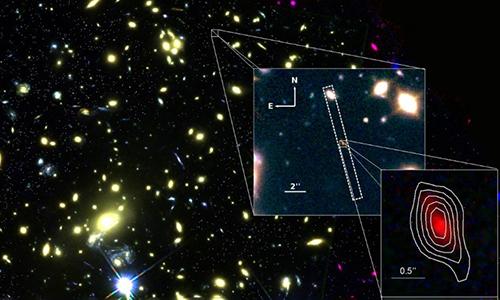 Hình ảnh phóng to của thiên hàMACS1149-JD1được chụp bởi hai kính thiên văn VLT và Hubble. Ảnh: ESO/NASA.