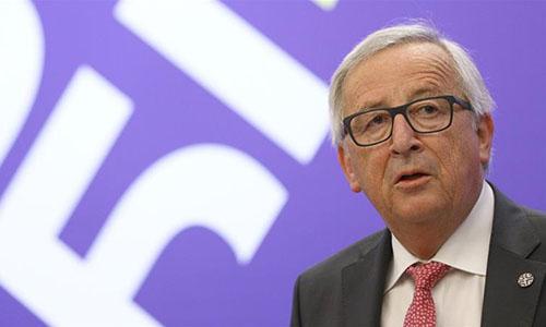 Chủ tịch Ủy ban châu Âu Jean-Claude Juncker tại phiên họp của Ủy ban châu Âu ngày 17/5về bước đi ngăn chặn tác động của việc Mỹ trừng phạt Iran ảnh hưởng đến các công ty châu Âu. Ảnh: Reuters.