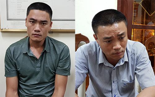 Hai anh em Lân, Dũng tại cơ quan điều tra.