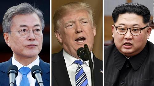 Tổng thống Hàn Quốc Moon Jae-in, Tổng thống Mỹ Donald Trump và lãnh đạo Triều Tiên Kim Jong-un. Ảnh: